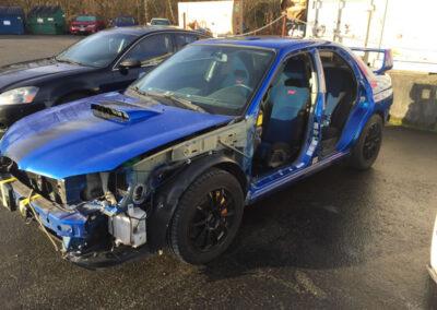 Subaru STI during collision damage repair Seatac